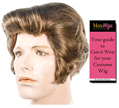 Bundle 2 items: James Dean 1950s pompadour Rebl Without Cause Hollywood Movie Star Men's Light Ash Brown Wig Lacey Wigs, MaxWigs Costume Wig Care -