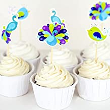 Yunko Set of 24 Cake Cupcake Decorative Cupcake Topper for Kids Birthday Party Themed Party Baby Shower (Peacock)