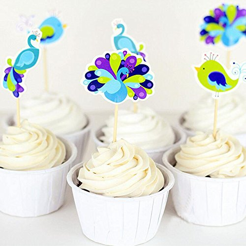 Yunko Set of 24 Cake Cupcake Decorative Cupcake Topper for Kids Birthday Party Themed Party Baby Shower (Peacock Party)