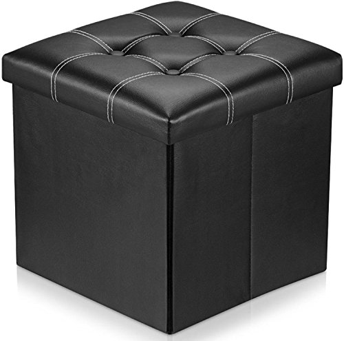 Naisidier Storage Ottoman,Leather Folding Storage Ottoman for Home and Office Storage14.5