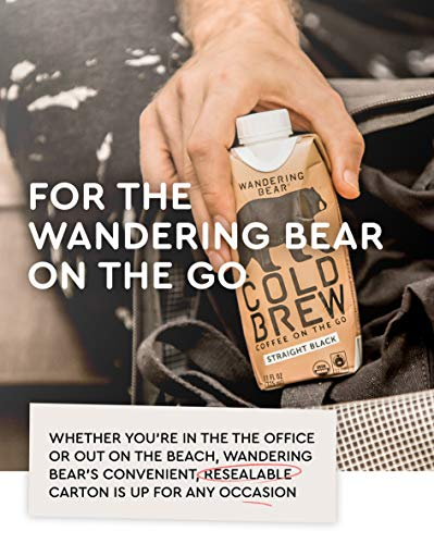 Wandering Bear Organic Cold Brew Coffee On-the-Go 11 oz Carton, Straight Black, No Sugar, Ready to Drink, Not a Concentrate (Pack of 12) by Wandering Bear (Image #5)