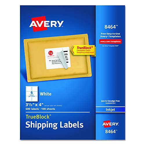 "Avery  Shipping Labels with TrueBlock Technology for Inkjet Printers 3-1/3"" x 4"", Box of 600 (8464)"