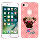 iPhone 7 Case / iPhone 8 Case - I Love My Pug Dog Hard Plastic Back Cover. Slim Profile Cute Printed Designer Snap on Case by Glisten