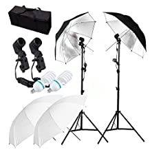 "CanadianStudio Photography Studio Day Light Umbrella Lighting Kit includes: (2)75""/1.9m Tall Photography Studio Light Stands + (2)Single Head Light Holder + (2)White Translucent Umbrella + (2)Reflective Umbrella + (2)110V 45W Day-Light Studio Light Bulbs + (1)Convenient Carrying Case"
