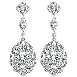 Crystal Rhinestone Beaded Dangle Earrings