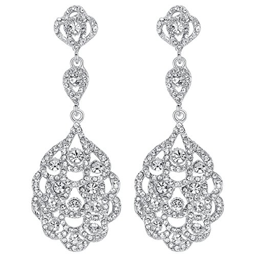 - mecresh Wedding Teardrop Dangle Earrings Crystal Rhinestone Beaded Chandelier Earrings for Brides Silver