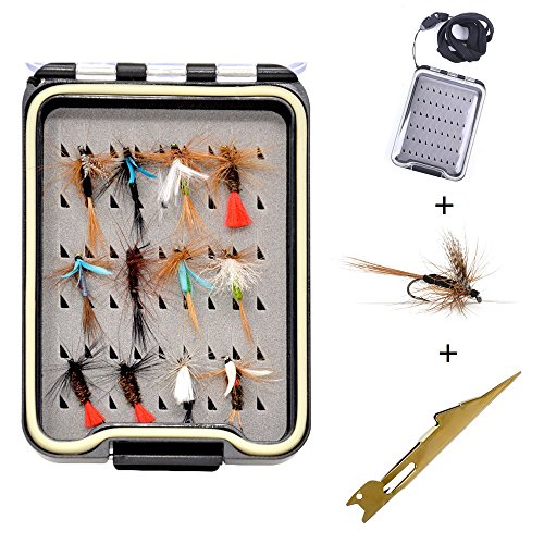 12 pcs Fly Fishing Flies Kit withTackle Box for Trout Fishing Dry Wet Flies Assortment Ideal for Bass Trout Panfish Tenkara ()