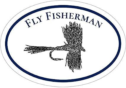 6c7ab0ca Amazon.com: WickedGoodz Oval Vinyl Fly Fisherman Decal - Fishing ...