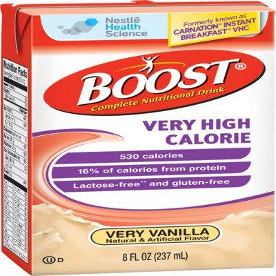 Boost VHC, Very High Calorie, Very Vanilla, 8 Ounce Tetra Brik, by Nestle - Case of 27