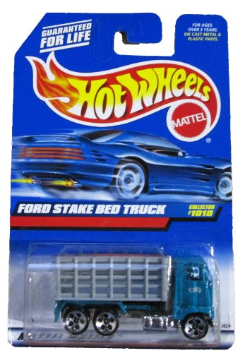 Mattel Hot Wheels 1999 1:64 Scale Gray & Green Ford Stake bed Truck Die Cast Car Collector - Ford Truck Stake