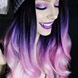 HeahairOmbre 3 Tone (Black, Purple, Pink) Synthetic Lace Front Wig Long Wavy Heat Resistant Fiber Hair Half Hand Tied Full Wigs 24 Inches