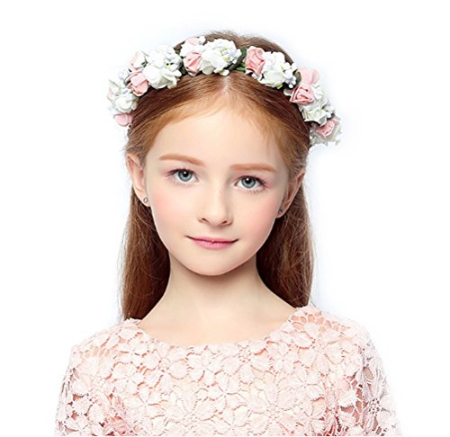 DDazzling Flower Headband Crown for Girls and Women (White and Pink)