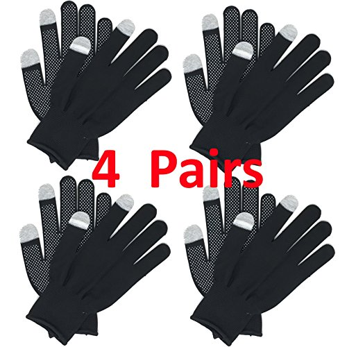 Goodwind Touchscreen Strong Grip Non-Slip Stretch Manual Labor Heat Absorbant Polyester Gloves with Point Bead PVC - 4 Pairs