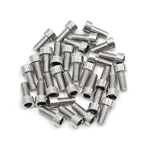 uxcell 30pcs Silver Tone Stainless Steel Motorcycle Hexagon Bolts Hex Screws M6 x 14 by uxcell