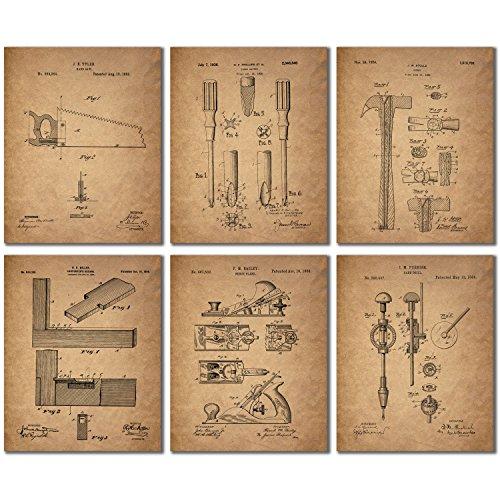 Tools Poster (Carpenter Patent Prints - Set of Six 8x10 Woodworking Wall Art Decor Photos)