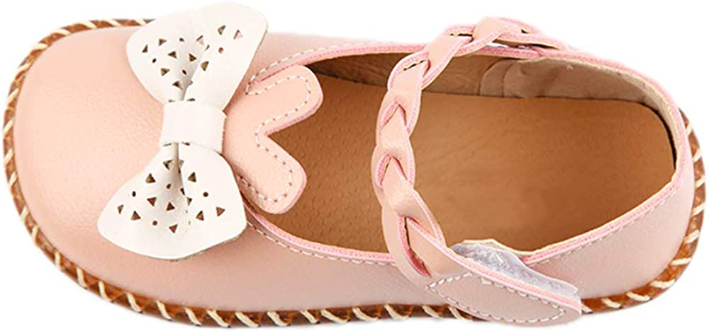 iFANS Baby Girl Princess Loafers Bow Woven Belt Dress Shoes Sweet Wind Kids Flat Pink