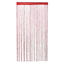 DealMux Dew Drop Beaded Chain String Curtains Panel Partition Divider 100x200cm Wall Door Curtain (Red)