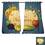 DESPKON-HOME Customized Curtains Happy Thanksgiving Wallpaper background6 Thermal Insulated Blackout Curtains -W84 x
