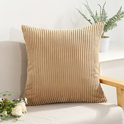 Camel Corduroy (Decorative Striped Corduroy Throw Pillow Covers Cases for Couch Bed Sofa,Supersoft Velvet Cushion Covers for Baby, 26 X 26 Inches,Camel)