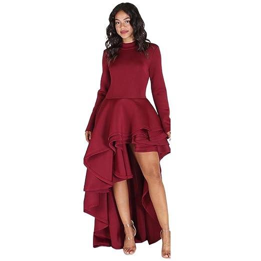 Xinxinyu - Vestido de mujer de manga larga, de corte ajustado y asimétrico, con la parte delantera corta y la parte trasera larga, de estilo peplo informal ...