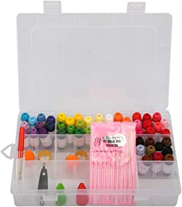 Thinktoo Adults & Kids Beginners Embroidery Kit Cross Stitch Kit Tools 50 Color Threads for Sewing, Quilting, Serger Machines, Overlock, Merrow & Hand Embroidery