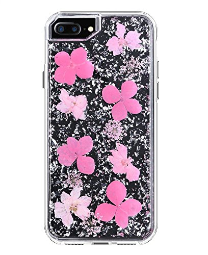 YXY·CF iPhone 8 Plus Case - Karat Petals - Made with Real Flowers - Slim Protective Design for Apple iPhone 8 Plus/iPhone 7 Plus/iPhone 6/6s Plus (Pink Petals) ()