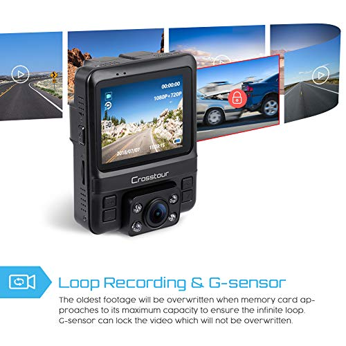 Uber Dual Lens Dash Cam Built-in GPS in Car Dashboard Camera Crosstour  1080P Front and 720P Inside with Parking Monitoring, Infrared Night Vision,