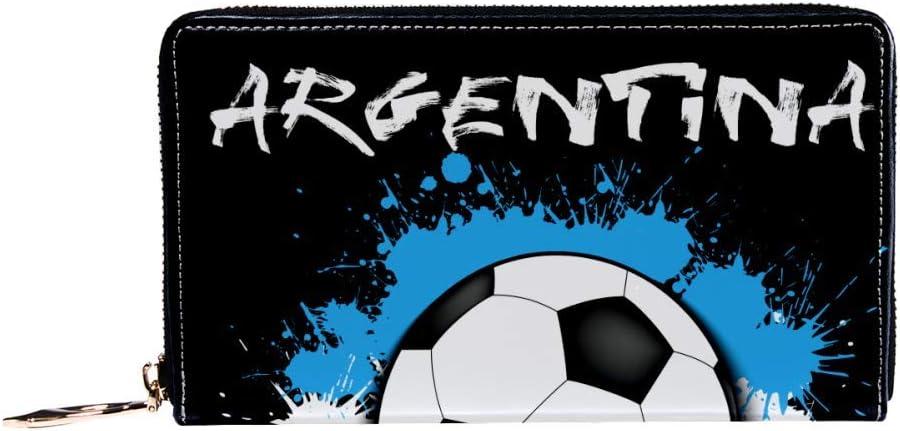 Cartera con cremallera alrededor de la mujer y el teléfono embrague, balón de fútbol contra la bandera de Argentina patrón bolso de viaje de cuero bolso de embrague organizador de tarjetas cartera