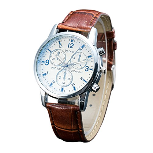 ChaoRan Brand Analog Watch,Quartz Watch For Men,Business Wrist Watch Brown Leather Band,Waterproof,Swiss Imported Movement,Wrist Watch Classic For mens,Arabic Numerals hour markers showe