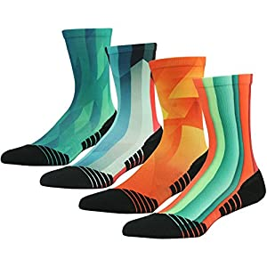Colorful Funky Socks, HUSO Men's Pattern Arch Compression Support Hiking Mid Calf Socks 4 Pairs (Multicolor, L/XL)