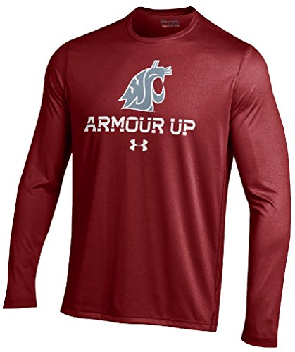 Washington State Cougars Crimson Poly Dry Armour Up HeatGear NuTech Long Sleeve Shirt - Cougars T-shirt Football Practice