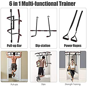 Goplus 6 in 1 Pull Up Bar Doorway, Fitness Chin-Up Bar with Power Ropes Ergonomic Grip, Strength Training Bar for Home Gym Exercise, Black