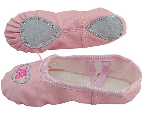 Feoya Chausson de Ballerines en cuir Semelle Entière Chausson de danse Chaussure de Danse de Ballet ballerine Pour Fille Femme - Rose - FR 37