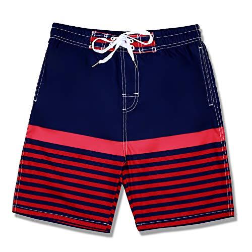 Slim Striped Shorts - Kute 'n' Koo Boys Swim Trunks, UPF 50+ Quick Dry Striped Boys Swim Shorts, Boys Bathing Suit (4S, Red Striped)