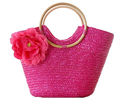 ILISHOP Hot Sale Women's Summer Straw Ring Shaped Handle Handmade Beach Tote Bag Handbag (Rose)