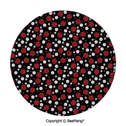 Diameter31 inch,Printing Round Rug,Dragonfly,Mat Non-Slip Soft Entrance Mat Door Floor Rug Area Rug for Chair Living Room,,Red and Black,Retro 60s 70s Cartoon Snow Like Polka Dots Circles Rounds,White (Cartoon Characters From The 60s And 70s)