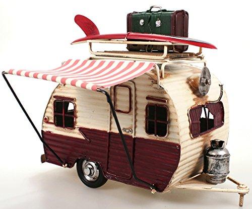 51stF8cIrmL Wohnwagen aus Metall rot mit Rahmen und Spardose Camper Auto Oldtimer Nostalgie