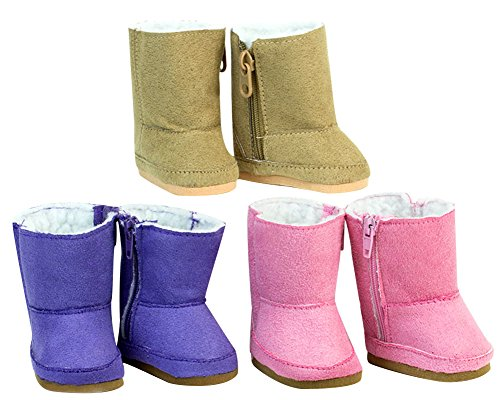 Doll Boots (18 Inch Doll Shoe Pack Includes 3 Pairs of Boots: Tan, Pink & Purple Boots)