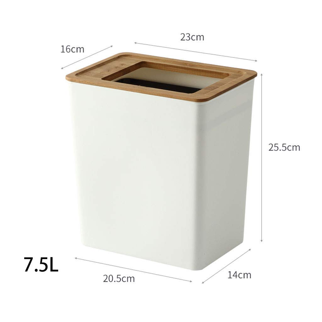 23 25.5-Wei/ß GOPG Mit Deckel Holz M/ülleimer Rechteckig Schmal Druckring Papierkorb Kunststoff Abfallbeh/älter M/üll Recycling Geeignet f/ür Familie 16