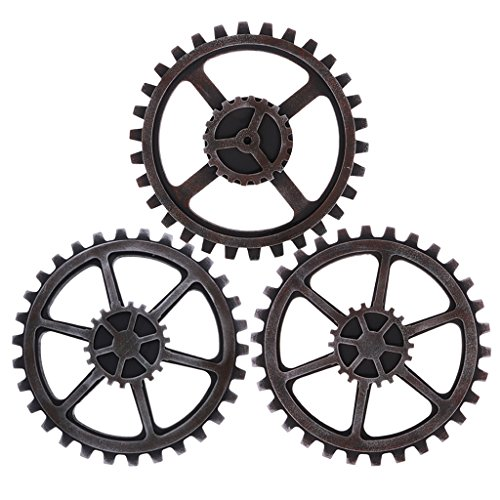 Baoblaze 3Pc Vintage Industrial Wooden Gear Steampunk 24cm for Wall Art Craft Plaques