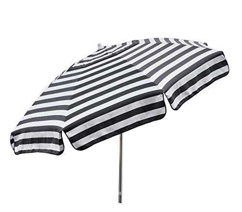 Heininger 1305 Destination Gear Italian Stripe Black and White 7.5 ft Patio Umbrella by Heininger