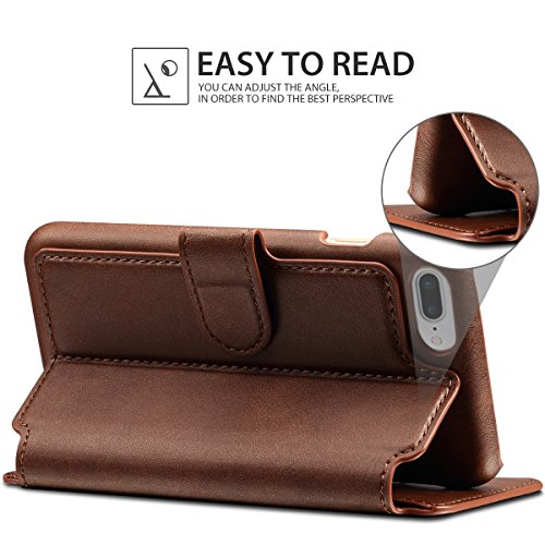 PASONOMI iPhone 8 Plus Case, iPhone 7 Plus Case, iPhone 7 Plus Leather Wallet Case - [Slim Fit] Vintage Flip Case Cover with Stand Function & Credit Card Slots for iPhone 8 Plus & 7 Plus(Dark Brown)