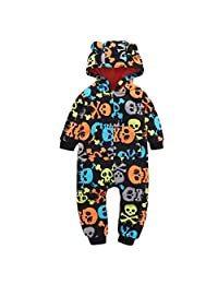 Perman Kids Baby Girls Boys 2PCS Long Sleeve Skull Hooded Romper Jumpsuit Outfit
