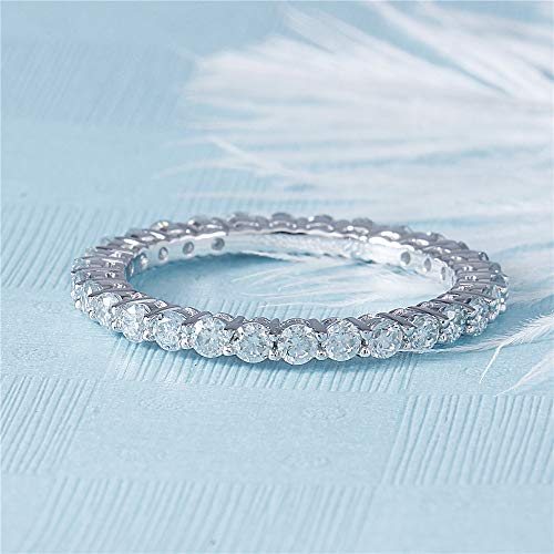 DovEggs Platinum Plated Silver 1CTW 2mm Moissanite Simulated Diamond Eternity Engagement Wedding Band for Women (7)