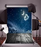Leyiyi 6x9ft Abstract Galaxy Backdrop Starry Night Sky Moonlight Cloud Crescent Twinkle Star Shining Bright Lay Out Floor Photography Background Kids Birthday Bday Baby Shower Photo Studio Vinyl Prop