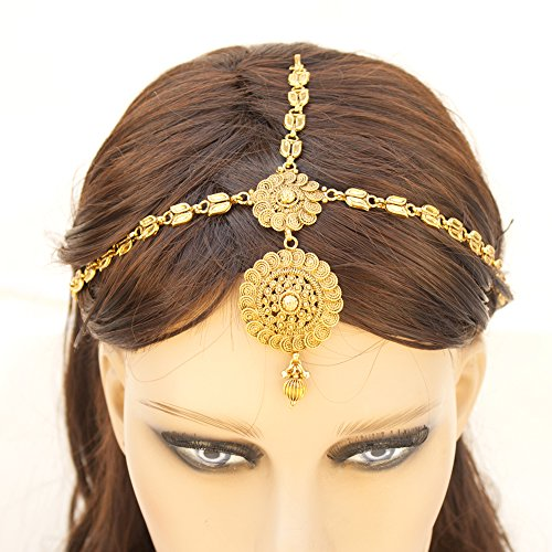 Indian Pakistani Ethnic Bollywood Gold Plated Round Maatha Patti Bridal Head Jewelry