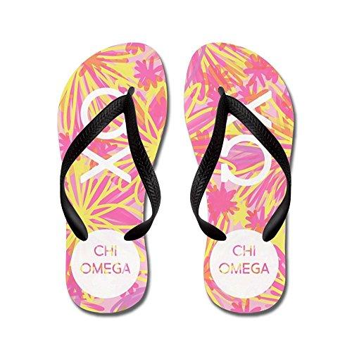 CafePress Chi Omega Pink Floral - Flip Flops, Funny Thong Sandals, Beach Sandals Black