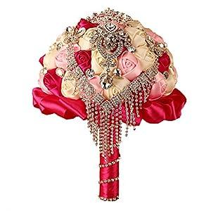 FAYBOX Handmade Rhinestone Brooch Stunning Tassel Wedding Bridal Bouquets 4
