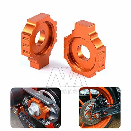 Orange Motorcycle Dirt Bike CNC Aluminum Rear Axle Spindle Chain Adjuster Blocks For KTM DUKE 390 (13-15) DUKE 125/200 RC 390 2014-2015 RC - Orange Ca Orange The Block Of