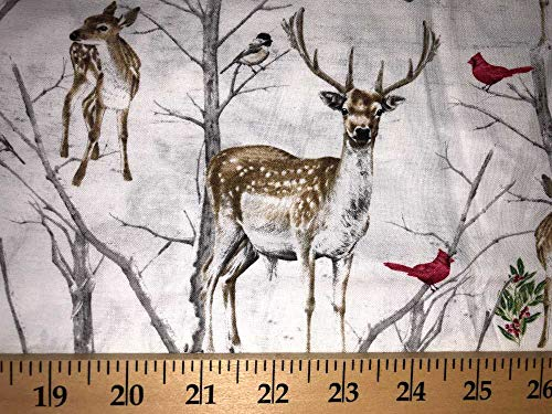 Deer Cardinal Red Bird Berries White Snowy Wintertime Snow Scenic Handcrafted Valance